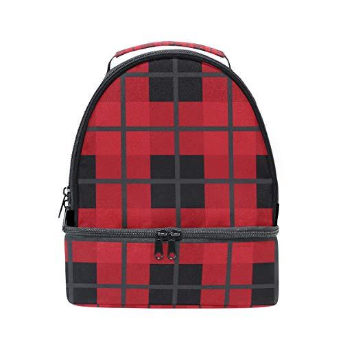 FOLPPLY pincnic correa Plaid para de con hombro el con ajustable caja almuerzo Black la Bolsa aislamiento de Red para escuela nevera rPRwr