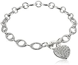 Sterling Silver Cubic Zirconia Pave Heart Charm Bracelet, 7.25""