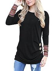Oyamiki Women Casual Loose Crewneck Long Sleeve Tunics Patchwork Blouse T-Shirt Tops