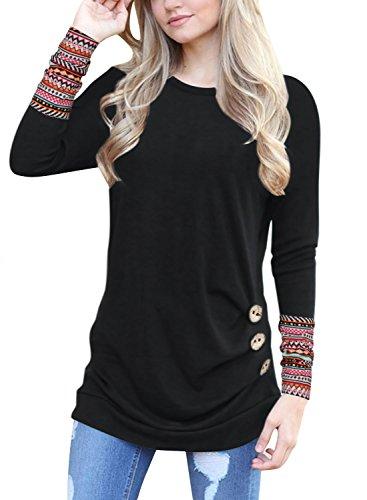 Oyamiki Women's Cotton Knitted Long Sleeve Lightweight Tunic Sweatshirt Tops Black L (Aztec Pattern Shirt)