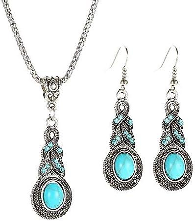 C- Conjunto de Pendientes de Collar de Mujer - Patrón de Moda Vintage Pendientes de Turquesa Azul con Incrustaciones de Cristal Pendiente de Bohemia Caliente de la Personalidad,C