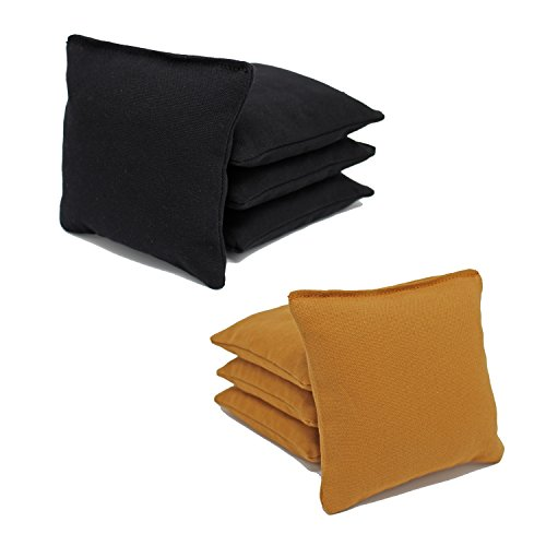 Cornhole Bags Set - (4 Black, 4 Gold) By Free Donkey (Gold Filled Bags)