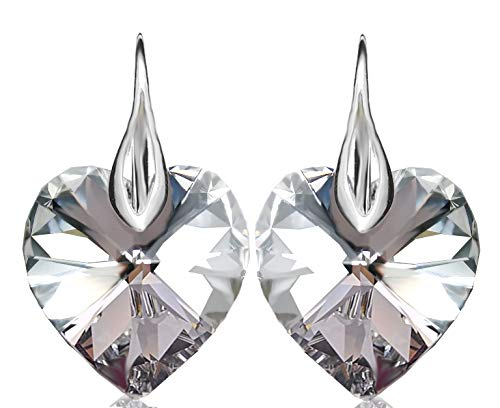 Heart Earrings for Women Royal Crystals made with Sterling Silver 925 and Crystals from Swarovski CAL (Comet Argent Light) Color
