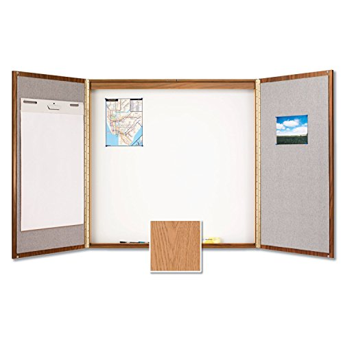 Quartet Laminate Conference Room Cabinet, 4' x 4', Whiteboard/Bulletin Board Interior, Oak Finish (838) by Quartet