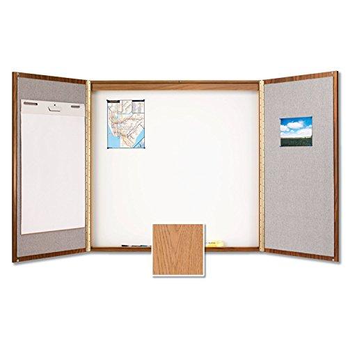 Quartet Laminate Conference Room Cabinet, 4' x 4', Whiteboard/Bulletin Board Interior, Oak Finish (838)