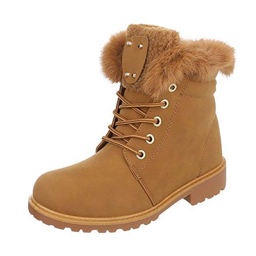 Ital-Design Schnürstiefeletten Damenschuhe Combat Boots Blockabsatz Warm Gefütterte Schnürsenkel Stiefeletten Camel SJ853