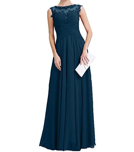 Abendkleider Applikation Partykleider Spitze Navy Charmant Neu Blau mit Chiffon Promkleider Langes Brautmutterkleider Damen qzwtfFwp