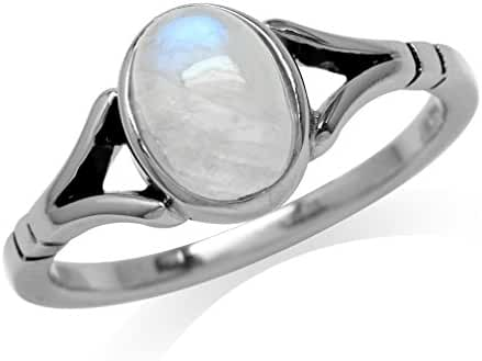 Natural Moonstone 925 Sterling Silver Solitaire Ring