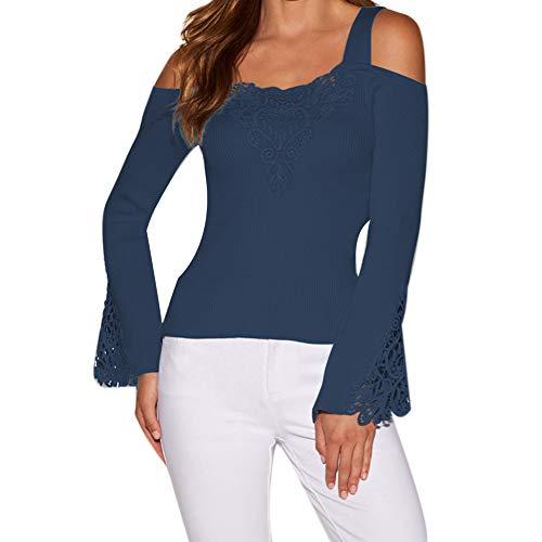 - CHoppyWAVE Cold Shoulder Off Shoulder T-Shirt Top,Cold Shoulder Lace Patchwork Long Sleeve Solid Color Women Slim Fit Sweater Top Navy Blue S