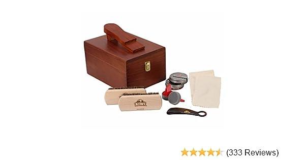 8db8af75a81 Amazon.com  Kiwi Select Shoe Shine Care Kit Valet II Wooden Box w  10 pc  Content  Shoes