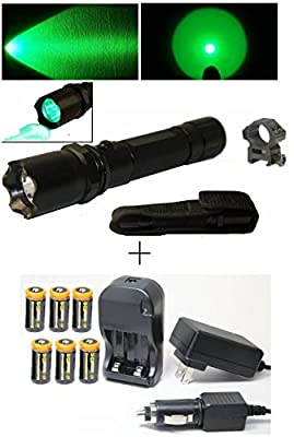 """Ultimate Arms Gear CREE LED Hunting Night Vision Preserving Green Light Tactical Flashlight With Strobe Feature L.E.D Shotgun Rifle Paintball Airsoft 7/8"""" Weaver-Picatinny Rail Ring Mount, Push Button Tail Cap - Front Serrated Self Defense Bezel + 6pc CR1"""