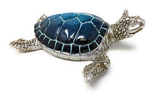Figurines Animal Pewter - Nauti Sea Turtle Trinket Box Blue Turtle with Silver Pewter Box Animal Figurine WW-353B
