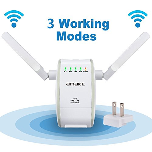 WiFi Router Range Extender,AMAKE 300Mbps Wireless N Repeater 2.4GHz Signal Booster Amplifier Mini Network Adapter with Router/Repeater/AP Modes(802.11 b/g/n,High Gain External Antenna,WAN + LAN Port) by AMAKE