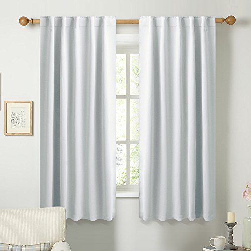 Shirred Panel (Insulated Room Darkening Curtain Panels - (Greyish White Color) W42