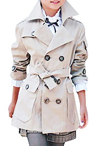 JiaYou Kid Child Girls' Double Breasted Trench Coat Outwear with Belt(Beige,10) ()