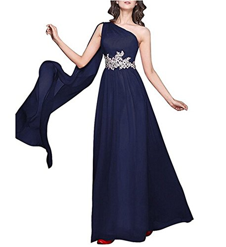 Navy Blue Babygirls Dresses One Long Shoulder Dresses Bridesmaid Chiffon Dress Appliques Evening wpPnvqwO