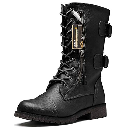 DailyShoes Women's Ankle Bootie High Lace up Military Combat...