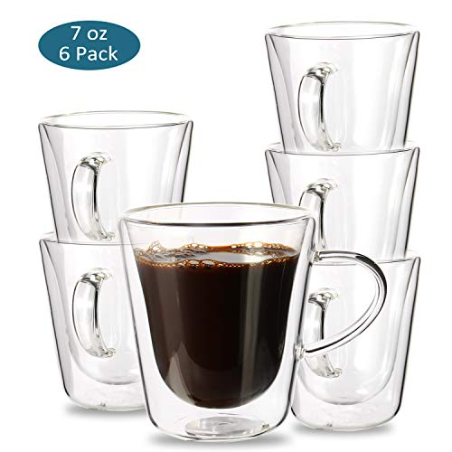 Espresso Cups, YULEER Double Wall Glass Coffee Mugs with Handle - Wall Insulated Glasses Coffee Cups, 7 Ounce - Set of 6 (Handle No Cups Espresso)