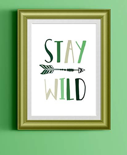 Stay Wild Art Print Poster | Green | Explorer Adventure Nursery Home Decor Baby