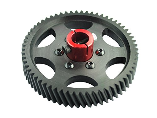 Microheli CNC Delrin Main Gear 62T 1M w/ Aluminum Hub (RED) - GOBLIN 500 - Delrin Main Gear