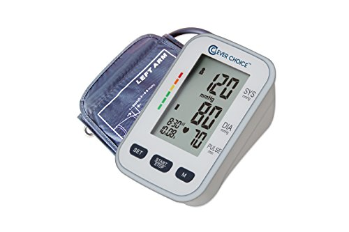 [2017] Clever Choice English & Spanish Talking Arm Blood Pressure Monitor with Cuff and Case - FDA, CE & ISO Certified, Irregular Heartbeat, One Size Fits All Wide range Cuff, Sphygmomanometer (Hypertension Set Model)