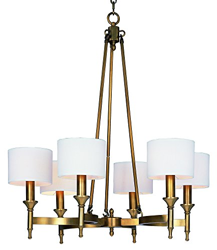 Maxim 22375OMNAB Fairmont 6-Light Chandelier, Natural Aged Brass Finish, Glass, CA Incandescent E12 Incandescent Bulb , 22+32W Max., Dry Safety Rating, 3000K Color Temp, Acrylic Shade Material, 3000 Rated Lumens