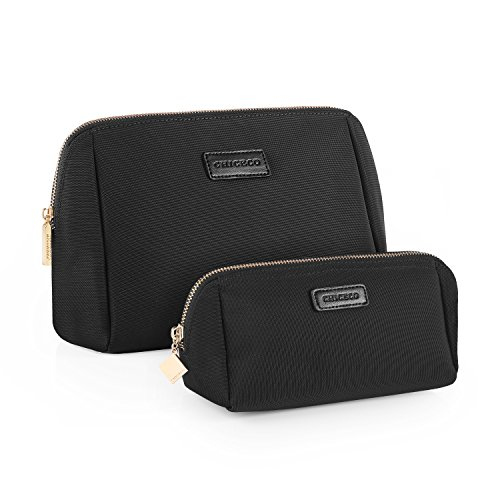 CHICECO Handy Cosmetic Pouch Clutch Makeup Bag (Black/Set (Small+Large)) ()