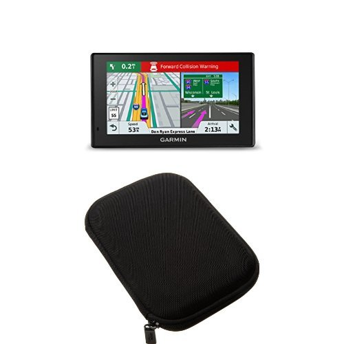 Garmin DriveAssist 51 NA LMT-S w/Lifetime Maps/Traffic+AmazonBasics Hard Carrying Case for 5-Inch GPS - Black