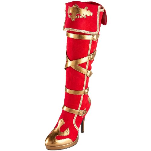 Funtasma by Pleaser Women's Arena-2012 Knee-High Boot Red Microfiber/Gold Polyurethane fJCyVy