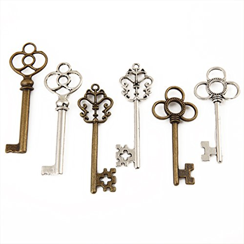 Bingcute 6 Type Of 30Pcs Antique Bronze Vintage Skeleton Keys And Antique Silver Skeleton Keys -Vintage Style Key Charms (Vintage Key)