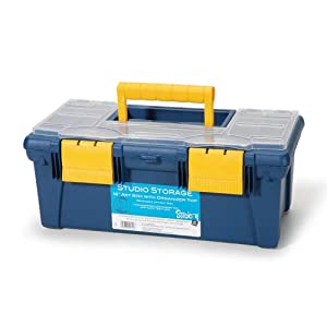 Darice 16-Inch Art Box with Organizer, Petroleum Blue