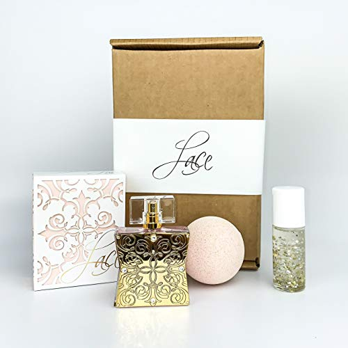 Lace 3 Piece Holiday Gift Set by Tru Fragrance and Beauty - includes Lace Perfume 1.7 oz, Floral Scented Bath Bomb & No. 5 Coconut, Water Lily and Amber Glow Perfume Oil Rollerball from Lace