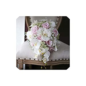 Wedding Bouquet Waterfall Artificial Phalaenopsis Wedding Flowers Bouquets for Brides Droplets Vintage Pink Bridal Bouquet Mariage,Pink White 83