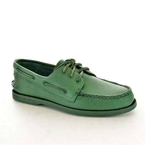 Sperry Scarpe Da Barca Casual Da Uomo 10540542 A / O 3 In Pelle Color Verde