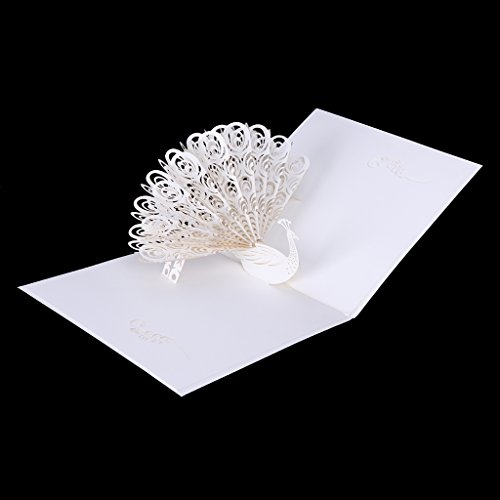 Bottone White Peacock 3D Pop Up Greeting Card Birthday Easter Anniversary Mother's (Letter Carrier Thank You Cards)