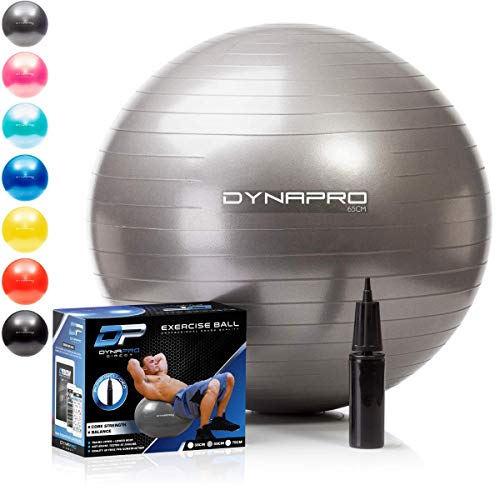 DYNAPRO Exercise Ball - Extra Thick Eco-Friendly & Anti-Burst Material Supports Over 2200lbs - Stability Ball for Home, Gym, Chair, Birthing Ball (Silver, 45 Centimeters)