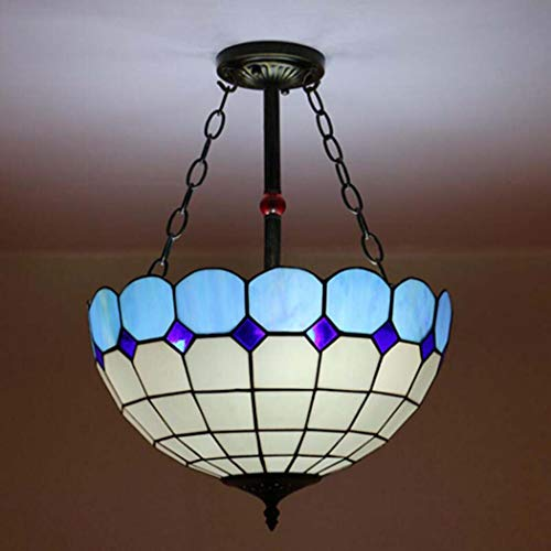 GAOLIQIN Tiffany Style Chandelier Stained Glass Shade Pendant Ceiling Lights for Bedroom Living Room Decoration Pendant Lights , 3 Light ,E27, MAX 40W (Color : 9) ()