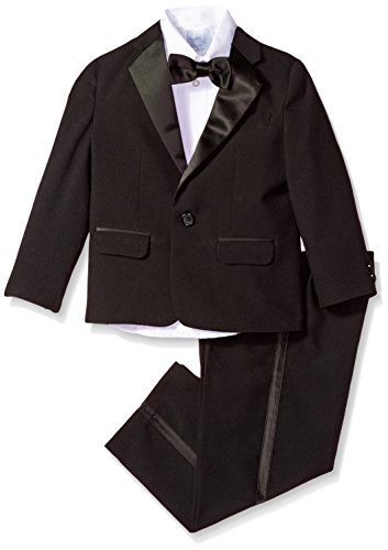 (Izod boys 4-Piece Formal Tuxedo Set with Jacket, Pants, Shirt, and Bow Tie, Black, 7)