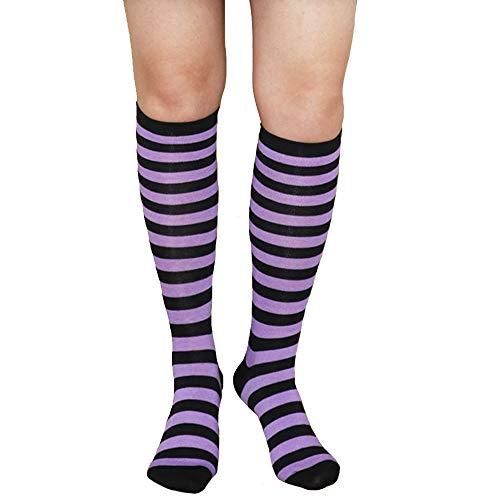 Unisex Knee High Socks Womens Girls Striped Over Calve Athletic Soccer Tube Cool Fun Party Cosplay Socks, Purple+Black,One Size -
