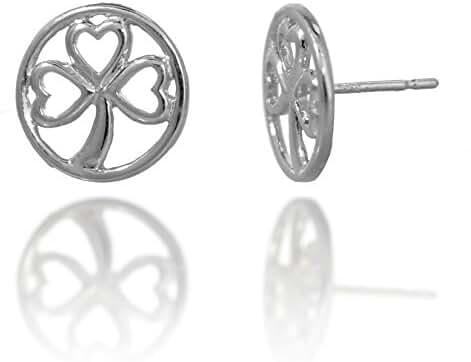 Rhodium Plated 925 Sterling Silver Three (3) Leaf Clover Shamrock Heart Circle Stud Earrings
