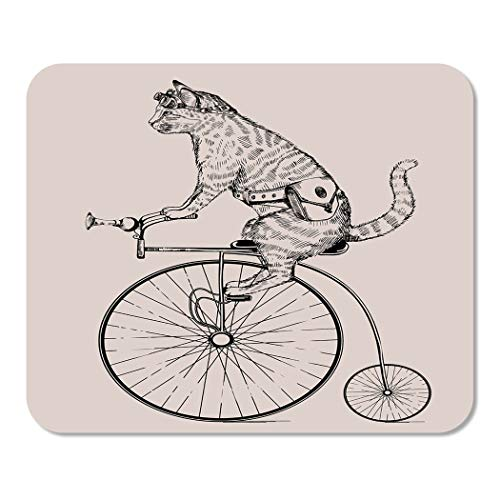 Suike Mousepad Computer Notepad Office Steam Punk Cat on Retro Bicycle with and Glasses in Etching Fantasy Etch Home School Game Player Computer Worker 9.5x7.9 ()