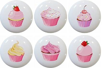 Set of 6 Cupcakes Ceramic Kitchen Cabinet Drawer Knobs - - Amazon.com