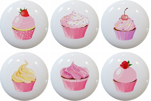Carolina Hardware and Decor 1916 Cupcakes Ceramic Kitchen Cabinet Drawer Knobs, Set of 6