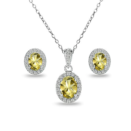 (Sterling Silver Citrine and White Topaz Oval Halo Necklace and Stud Earrings Set)