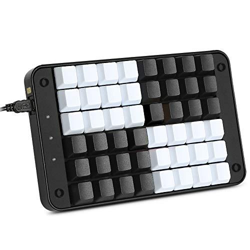 Koolertron Single-Handed Programmable Mechanical Keyboard with OEM Gateron Red Switch,All 48 Programmable Keys Tools Keypad,8 Macro Keys, PBT Keycaps. SMKD72-A