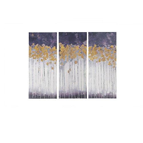 Madison Park Midnight Forest Violet Gel Coat Canvas with Gold Foil Embellishment 3 Piece Set Purple See Below