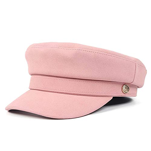 Beret Leather Women Pink Flat Top Military Cap