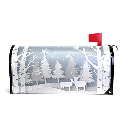 (ZZKKO Merry Chirstmas Paper-Cut Style Deer in Forest Snowflake Mailbox Covers Magnetic Seasonal Colorful Pattern Home Houses Decorations,25.5x20.8 Inch Large)