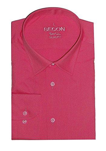 Herrenhemd, extralanger Arm, pink, Eton-Kragen, Slim Fit