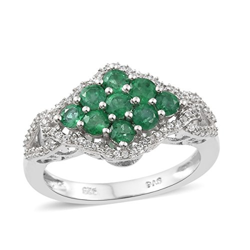 925 Sterling Silver Platinum Plated 1 Cttw Round Premium Emerald, Zircon Cluster Gift Ring Size 9 (Emerald Cluster Ring Setting)